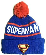 """SUPERMAN BEANIE Boys Winter Knit Hat_One Size/16"""" Diameter Rim w/out stretching"""