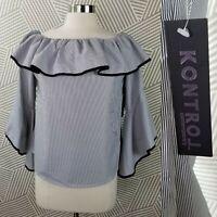 New KONTROL Top size Medium Stripe Tunic Off Shoulder 3/4 Ruffle Bell Sleeve