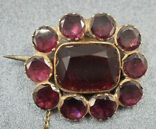 VINTAGE Flower of Amethysts & Paste Womens Brooch 9ct Yellow Gold Fine Jewelry
