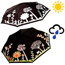Folding Umbrella Colour Changing Flower Design Compact Ladies
