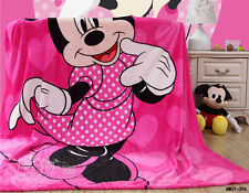 Cartoon Minnie Mouse Soft Warm Mink Fur Flannel Blanket Single Size Throw Rug