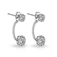 Silver Double Drop Earrings with Crystals from Swarovski®