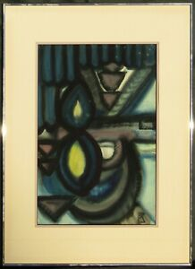 Illegibly Signed Mid-Century Large Framed Abstract Watercolor Painting NO RES.