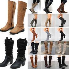 Womens Ladies Warm Mid Calf Knee High Boots Wide Leg Stretch Flat Heel Shoes New