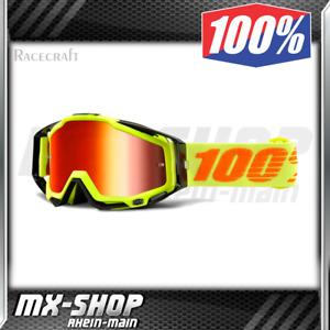 100% Brille RACECRAFT Attack Spiegel-Glas MX Moto Cross MTB Neon Gelb Schwarz