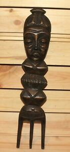 Vintage African folk hand carving wood wall hanging fork figurines
