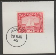 909516  ADEN 1937 DHOW 2a  on piece with  MADAME JOSEPH FORGED POSTMARK