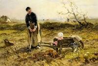 Oil painting Jan Zoetelief Tromp - katwijk binnen farmer with baby in field art
