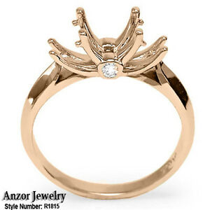 18k Solid Rose Gold Diamonds Engagement Setting Ring R1815.