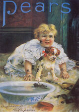 QUALITY CANVAS ART PRINT * PEARS SOAP PUPPY LOVE