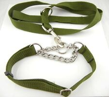 NEW Army Green Large Big Dog Pet Neck Collar Training Straps Chain Leashes 120cm