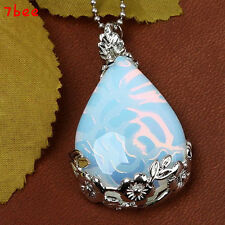 Vintage Opal Opalite Gemstone Teardrop Bead Jewelry Pendant Inlaid for Necklace