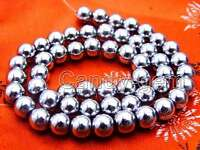 "SALE Big 8mm White Super Luster Round High Quality Hematite bead strand 15""-l535"