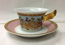 "VERSACE ""BUTTERFLY GARDEN"" LOW TEACUP & SAUCER PORCELAIN NEW ROSENTHAL GERMANY"