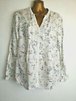 M & S Per Una 12/14 white multi long sleeve Y neck cotton feel Spring blouse