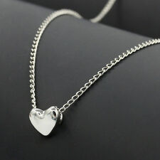 """Stainless Steel Polished Heart Charm Pendant Necklace 18"""" Chain Women Girls Gift"""