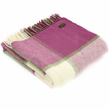 TWEEDMILL TEXTILES 100% Wool Sofa Throw Blanket BLOCK CHECK RASPBERRY/GREEN