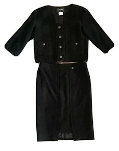 CHANEL Iconic Black Suit Starburst Button Skirt & Jacket Wool Silk Lined Size 44