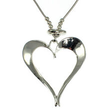Lagenlook silver colour large heart pendant on a long fitting chain necklace