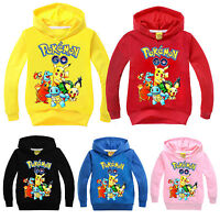 Pokemon Pikachu Kids Boys Girls Clothes Hoodies Sweatshirt Hoodie Top Coat 3-10Y