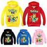 Kids Girls Boys Pokemon Hoodie Pikachu Sweatshirt Hooded Long Sleeve Jumper Tops