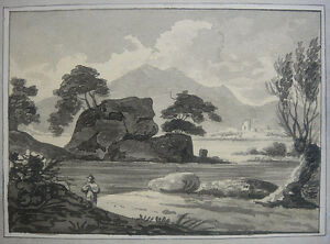 Antique ink drawing. Romantic river landscape with wanderer. Early 1800s