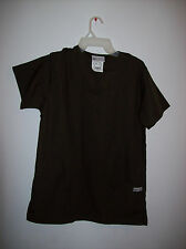 WOMENS UA SCRUBS BRAND SMALL SIZED SOLID BROWN SCRUBS TOP GUC