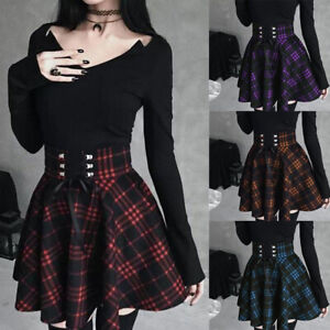 New Women Gothic Lace Up Plaid Pleated A-line Short Skirt Ball Gown Mini Dress