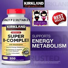 AUTH KIRKLAND SUPER B-COMPLEX + ELECTROLYTES 500 TAB ONLY P 2.59/TABLET SEALED!