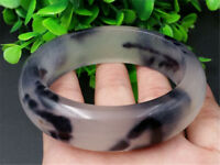 Chinese Hand-carved Black and white color jade bracelets Bangle 62 mm Diameter A