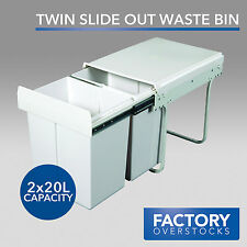 40L Twin Slide Rubbish Waste Bin - Pull Out Kitchen Dual Compartment 2x20L