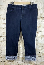 Coldwater Creek Women's Jeans Size 8 Natural Fit Floral Cuff Dark Wash