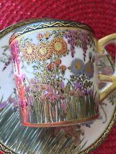 ANTIQUE JAPANESE SIGNED SATSUMA PORCELAIN CERAMIC TEA CUP AND SAUCER