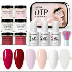 11Pcs Poly Poudre à Ongles Acrylique Gel Nail Art Powder Set Liquide Démarrage