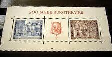 """1976 AUSTRIAN STAMP PANEL """"200 JAHRE BURGTHEATER"""""""