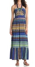 M60 Miss Sixty Dress Sz 2 Blue Black Multi Color Belted Waist Long Summer Dress