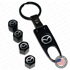 Black Wheel Tyre Tire Valve Dust Stems Air Caps Keychain Ring With Mazda Emblem