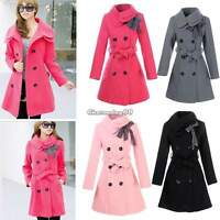 New Womens Ladies Winter Wool Blend Double Breasted Trench Coat Jacket Parka