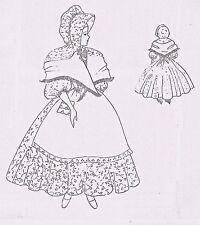 "15""ANTIQUE CHINA HEAD LADY DOLL CLOTH BODY@PIONEER DRESS APRON BONNET PATTERN"