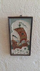 porceleyne fles cloisonne pottery tile whit old boat Kraak old historic sailship