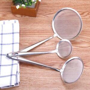 Stainless Steel Fine Mesh Skimmer Flour Oil Strainer Colander Spoon Kitchen Tool