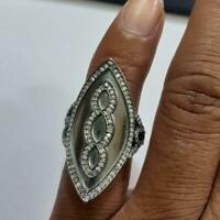 Handmade Ring Natural Pave Diamond 925 Sterling Silver Fine Gift her Jewelry SE