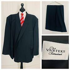 Varteks Mens Suit 68R 64W 31L  Black Single Breasted Formal Business  OR454