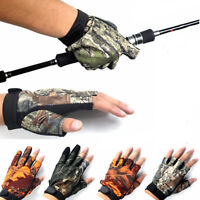 EG_ 3/5 Cut-Finger Waterproof Fishing Gloves Hunting Anti-Slip Mitts Camouflage