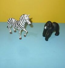 Terra by Battat Zebra & Silver Back Gorilla Animal Figures Figurine Plastic Pvc