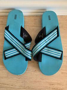 Aqua Blue Beach Wedge Slides Lands' End Flip Flops Thongs - New - Size 11