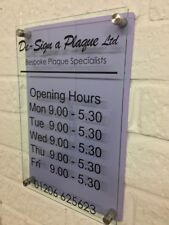 MODERN SHOP OPENING TIMES SIGN LILAC GLASS ACRYLIC BUSINESS SHOP SIGN