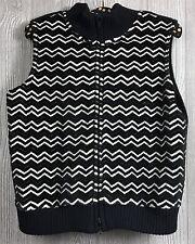 Talbots Fleece Mock Neck Vest Chevron Black & White Zipper Front Size Small