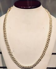 14K Yellow Gold Hand Made Miami Cuban Link Chain 9mm - 925 - VVS1 - Brand New