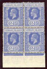 Leeward Islands 1927 KGV 2½d bright blue block superb MNH. SG 67. Sc 70.